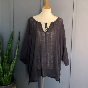 free people boho billowy blouse tassels + ruching
